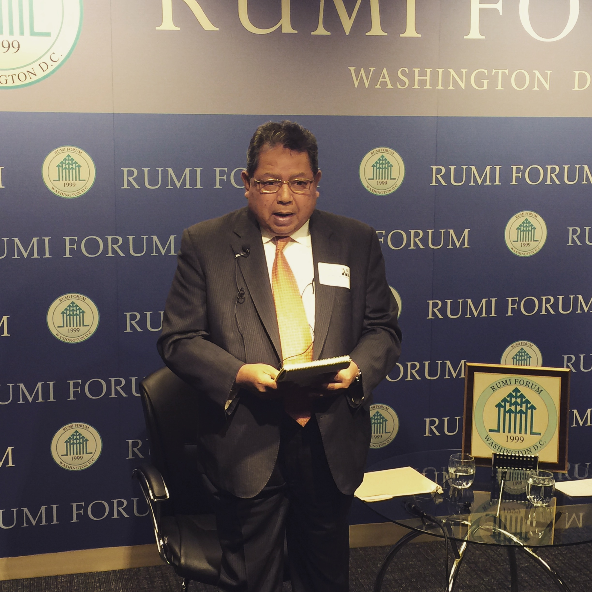 Ambassador Awang Adek talks about the importance diversity and respect for multiculturalism in Malaysia. Don Cooke, former diplomat, moderates at Rumi Forum (2)