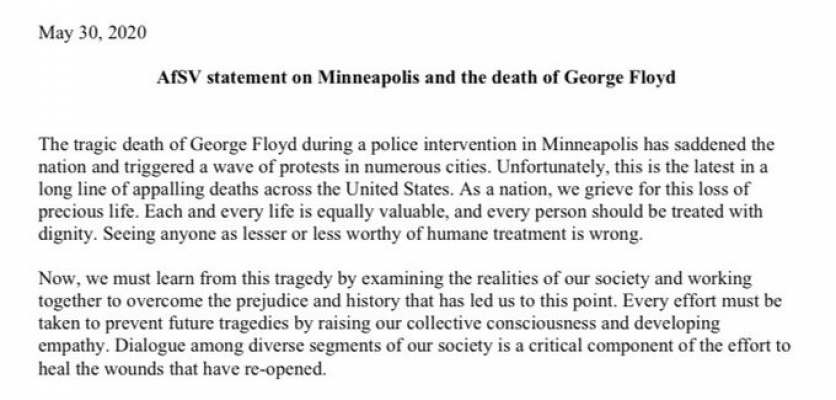 AfSV statement on Minneapolis and the death of George Floyd