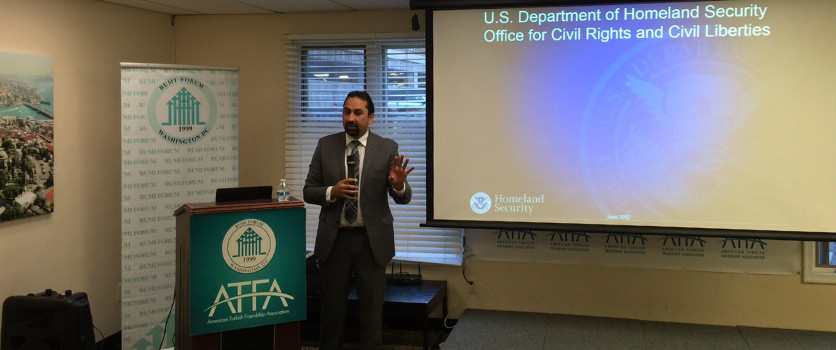 Haris Tarin talks about work of the DHS on May 3 with the Turkish American Community